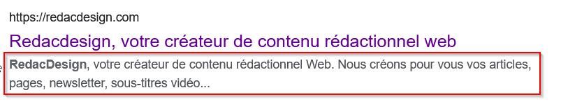 Capture d'écran exemple de description sur Google